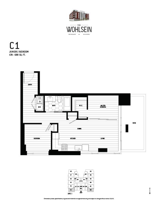 Wohlsein by Jameson Development Corp Junior 2 Bedroom C1 Floor Plan