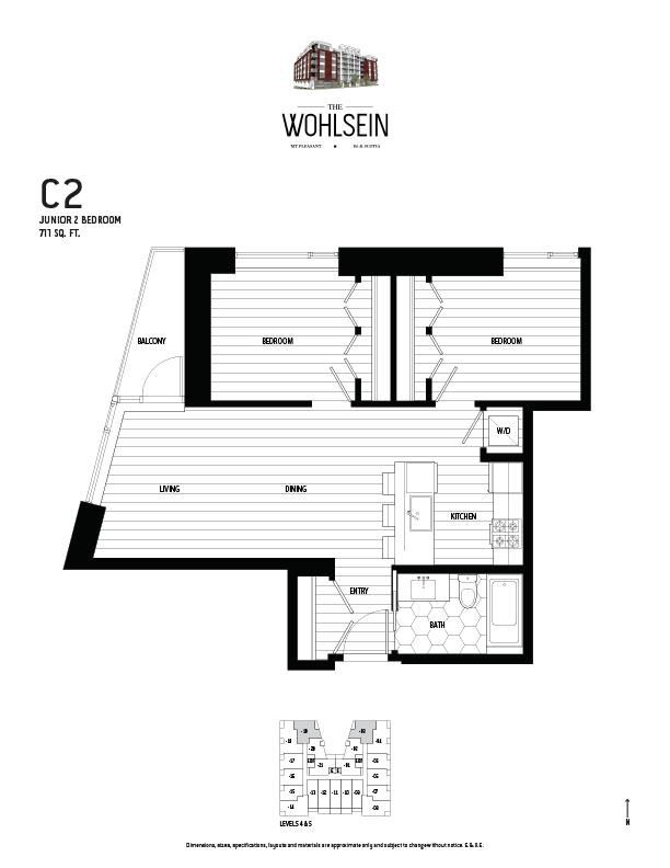 Wohlsein by Jameson Development Corp Junior 2 Bedroom C2 Floor Plan