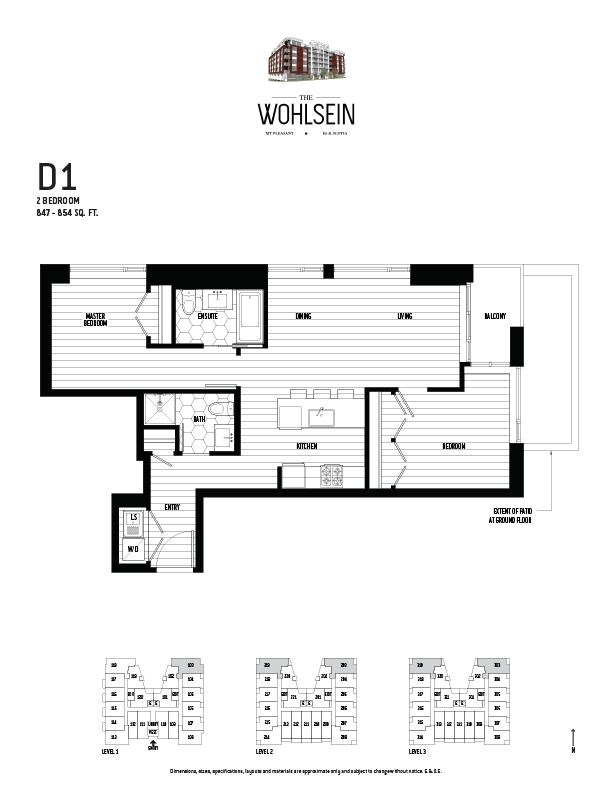 Wohlsein by Jameson Development Corp 2 Bedroom D1 Floor Plan