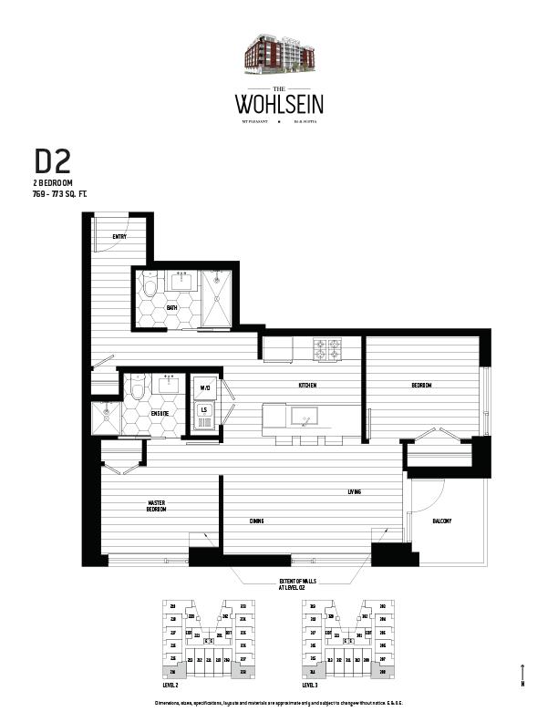 Wohlsein by Jameson Development Corp 2 Bedroom D2 Floor Plan