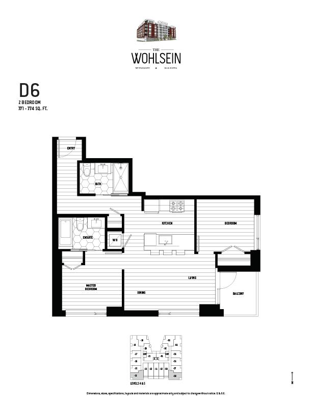 Wohlsein by Jameson Development Corp 2 Bedroom D6 Floor Plan
