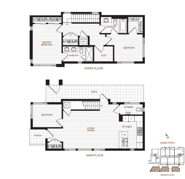 Livingstone House by Intercorp Projects Ltd. Floor Plan CH Townhome 3 Bedroom+Flex
